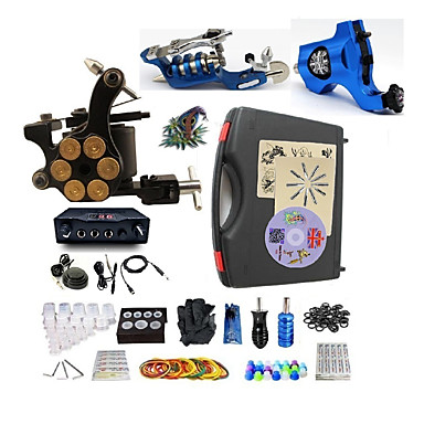 Basekey Macchina Del Tatuaggio Kit Tatuaggio Professionale - 3 Pcs Macchinette Per Tatuaggio Alimentazione Led Confezione Inclusa 2 X Macchina Rotante Per Linee E Ombre - 1 X Tatuaggio Macchina In #05663816 Elaborato Finemente