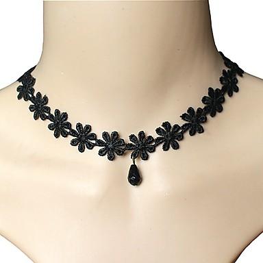 للمرأة كريستال قلادات ضيقة - بوهيميان, بانغك, طبقة مزدوجة أسود قلادة مجوهرات من أجل زفاف, حزب, يوميا