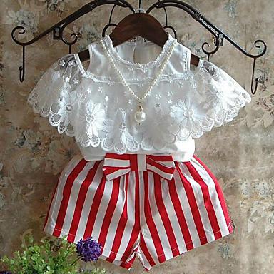 فتيات مجموعة ملابس مخطط بقع يوميا رايون صيف كم قصير خطوط شريطة دانتيل أبيض