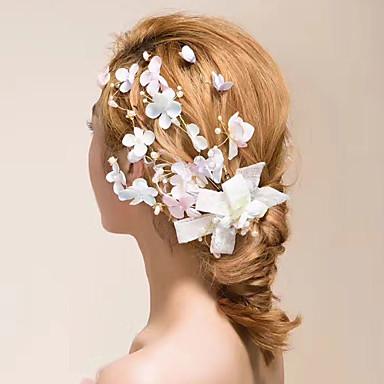 Tule Cristal Tecido Cetim Fascinadores Flores Grinaldas Presilha de cabelo 1 Casamento Ao ar livre Capacete