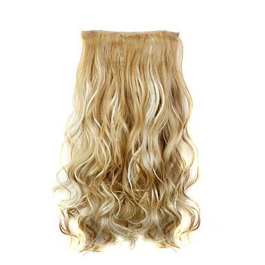abordables Extensions Synthétiques-Pièce de cheveux Bouclé Ondulé Classique Cheveux Synthétiques 22 pouces Extension des cheveux A Clipser Synthétique Femme Quotidien