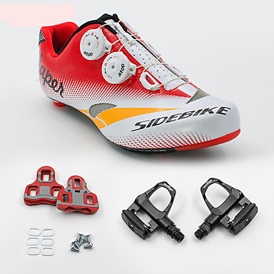 cheap Cycling Shoes-SIDEBIKE Adults' Cycling Shoes With Pedals & Cleats Road Bike Shoes Carbon Fiber Cushioning Cycling Red Men's Cycling Shoes / Breathable Mesh