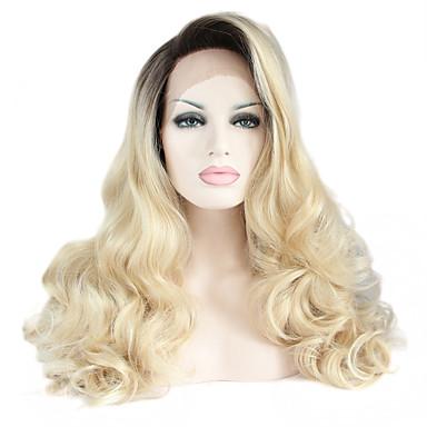 Syntetisk Lace Front Parykker Naturligt, bølget hår Syntetisk hår Varme resistent / Ombre-hår / Mørke hårrødder Sort Paryk Dame Lang Blonde Front / Natural Hairline