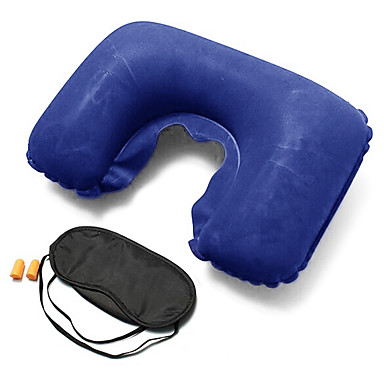 Reiseschlafmaske Reisekissen Reiseohrstöpsel Klappbar U Form Ausruhen auf der Reise Aufblasbar Multi-Funktion Nackenstütze Solide