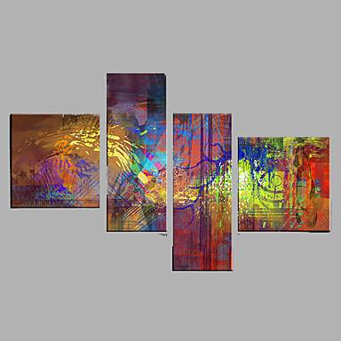 Pintura a Óleo Pintados à mão - Abstrato Modern Tela de pintura / 4 Painéis / Lona esticada