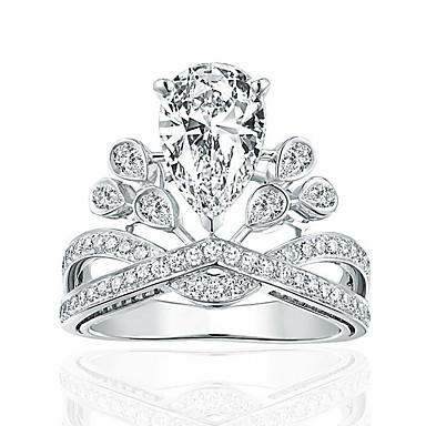 Mulheres Anel - Prata de Lei, Zircão Coroa Original Ajustável Prata Para Casamento / Festa / Diário