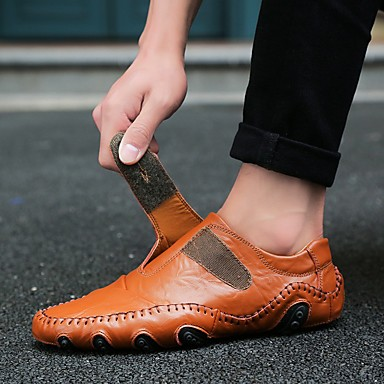 cheap Shoes Trends-Men's Nappa Leather Spring / Summer / Fall Casual / Comfort Loafers & Slip-Ons Walking Shoes Black / Brown