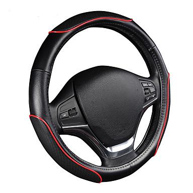 Autoyouth carro roda volante desportivo onda padrão com linha vermelha costura m tamanho se encaixa 38cm / 15 diâmetro carro acessórios