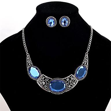 للمرأة كريستال مجموعة مجوهرات - كريستال مخصص, euramerican في تتضمن قلادة / أقراط أزرق من أجل زفاف حزب يوميا / القلائد