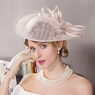 voordelige Hoeden-Vlas / Strass / Veer Kentucky Derby Hat / fascinators / hatut met Bloemen 1pc Bruiloft / Speciale gelegenheden  / ulko- Helm