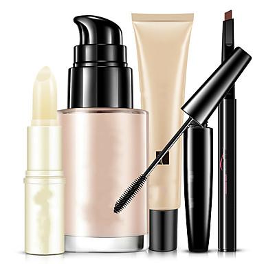 Base+Rímel Sobrancelha+Bálsamo Labial Molhado Olhos Rosto Lábios Cobertura Corretivo Natural