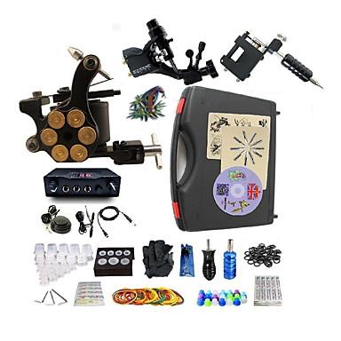 BaseKey آلة الوشم المهنية الوشم كيت - 3 pcs آلات الوشم, متخصص سبيكة 20 W تزويد القوة LED الغطاء متضمن 2 × آلة تاتو آلة التاتو الروتاري للتخطيط والتظليل / 1 الوشم سبيكة X آلة لبطانة والتظليل