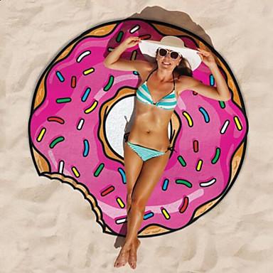 povoljno Ručnici i ogrtači-1pc okrugli krofni gigantski novi plažni ručnik hamburger pop šalovi deka tiskani tuš mat pizza vruće moda