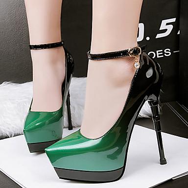 Chaussures Bleu de Printemps Vert 05676885 à Femme Chaussures Aiguille Bout Cuir Chaussures Verni Rouge Boucle Talon Talons pointu club qwXC1T0