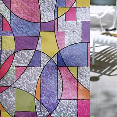 Geométrica Retro Adesivo de Janela, PVC/Vinil Material Decoração de janela Sala de Jantar Quarto Escritório Quarto das Crianças Sala de