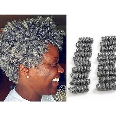 저렴한 가발 & 헤어 연장-땋은 머리 탄력있는 컬 / 크로쉐 뜨개질 트위스트 드리다 / 인모 연장 100 % 카네 칼론 머리카락 / Kanekalon 뿌리 20 개 헤어 드리다 일상 / 각 팩에는 하나의 묶음이 들어 있습니다. 한 묶음에 20 개의 뿌리가 있습니다. 일반적으로 5 ~ 6 개의 묶음으로 전체 헤어 커버가 충분합니다.