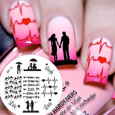 1 pcs Placa de Estampagem Modelo Design Moderno / S. Valentim arte de unha Manicure e pedicure Chique & Moderno Diário / Placa de Carimbar / Aço