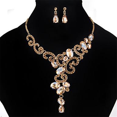 Mulheres Cristal Conjunto de jóias - Cristal, Strass Flor Personalizada, Vintage, Fashion Incluir Dourado / Prata / Cinzento Para Casamento / Festa / Ocasião Especial / Colares