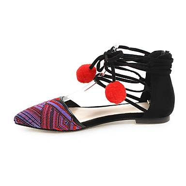 Damen Schuhe Kunstleder PU Sommer Herbst Komfort Neuheit Flache Schuhe Niedriger Heel Spitze Zehe Schnürsenkel für Hochzeit Normal Kleid