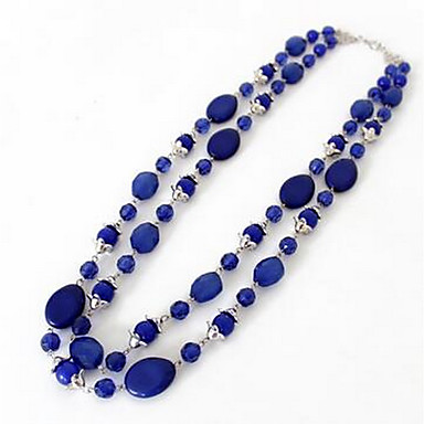 cheap Necklaces-Women's Synthetic Sapphire Pendant Necklace Statement Necklace Long Double Rosary Chain Flower Aquarius Ladies Fashion Euramerican Synthetic Gemstones Dark Blue Necklace Jewelry For Party Special