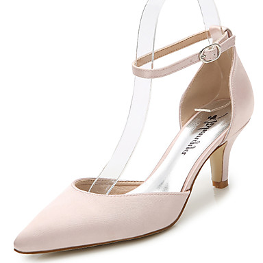 cheap Wedding Shoes-Women's Silk Summer / Fall D'Orsay & Two-Piece / Ankle Strap / Club Shoes Sandals Stiletto Heel Pointed Toe / Closed Toe Black / Light Pink / Royal Blue / Wedding / Party & Evening