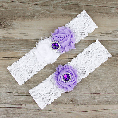 Chiffon Renda Cetim Fashion Wedding Garter  -  Renda Flor Ligas