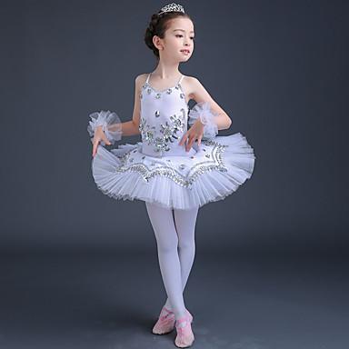 preiswerte Tanzkleider & Tanzschuhe-Ballett Kleider Leistung Elasthan / Tüll Spitze / Kristalle / Strass / Pailetten Ärmellos Hoch Kleid / Armbänder