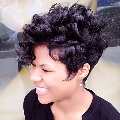 Fluffy Short Human Hair Capless Wigs Human Hair Natural Curly Pixie Cut / Layered Haircut / With Bangs African American Wig Short Machine Made / Capless Wig Women's