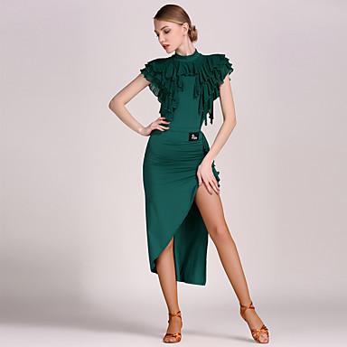 13574652f82 Λάτιν Χοροί Σύνολα Γυναικεία Επίδοση Τούλι / Βισκόζη Βολάν Φυσικό Φορμάκι /  Ολόσωμη φόρμα / Φούστα