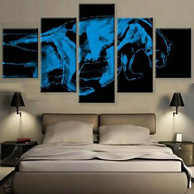 Reprodukce umění Zvíře Moderní,Pět panelů Horizontálně Tisk Art Wall Decor For Home dekorace
