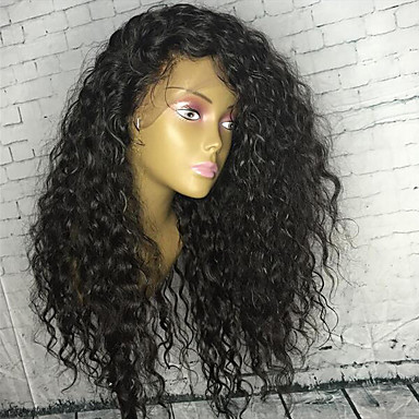 Human Hair Glueless Full Lace / Full Lace Wig Peruvian Hair Curly Wig With Baby Hair 130% Natural Hairline / For Black Women Women's Long Human Hair Lace Wig