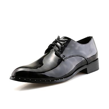 Homens sapatos Courino Primavera Outono Sapatos formais Oxfords Caminhada Tira Trançada para Casamento Casual Festas & Noite Preto