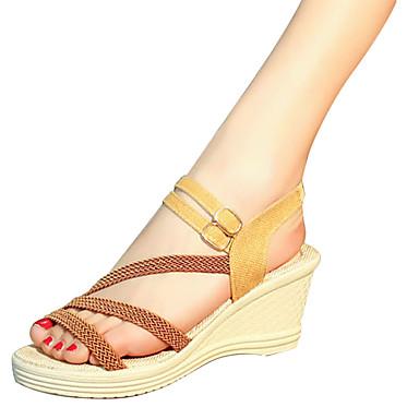 للمرأة أحذية PU صيف مريح صنادل كعب إسفينWedge Heel إلى الأماكن المفتوحة أبيض أسود بني داكن