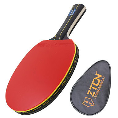 ZTON Ping Pang/الجدول مضارب تنس خشب مقبض طويل البثور 1 حقيبة تينس الطاولة 1 المضرب -