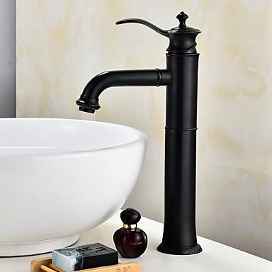 Moderna Conjunto Central Separada Válvula Cerâmica Monocomando e Uma Abertura Bronze Polido a Óleo, Torneira pia do banheiro