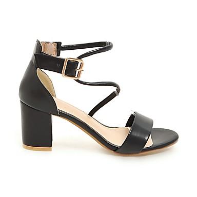 redondo Cuadrado Negro Dedo Mujer Beige Paseo Hebilla 05775533 Tacón Primavera Confort Verano Blanco Sandalias Zapatos Semicuero n84qvA