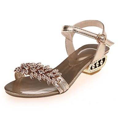 Dámské Boty PU Léto Pohodlné Sandály Kačenka Štras Pro Ležérní Šaty Party Čokoládová Zlatá Stříbrná