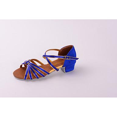 Sapatos de Dança Latina Couro Envernizado / Tecido Sandália / Salto Laço / Presilha / Bloco de Cor Sem Salto Personalizável Sapatos de Dança Vermelho Escuro / Azul marinho / Preto / Vermelho