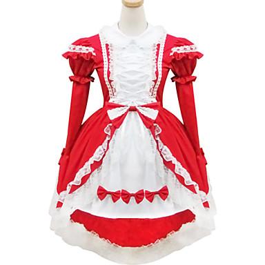 Doce Lolita Mulheres Roupa Cosplay Vermelho Manga Curta Curto / Mini Fantasias