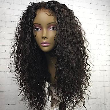 Naisten Aitohiusperuukit verkolla Aidot hiukset 180% Tiheys Kihara 360° etuosa Peruukki Musta Lyhyt Keskikokoinen Pitkä Luonnollinen