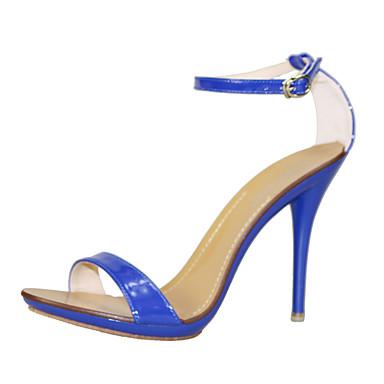Mulheres Sapatos Couro Envernizado Verão Sapatos clube Sandálias Salto Agulha Dedo Aberto Presilha para Casual Social Festas & Noite Azul