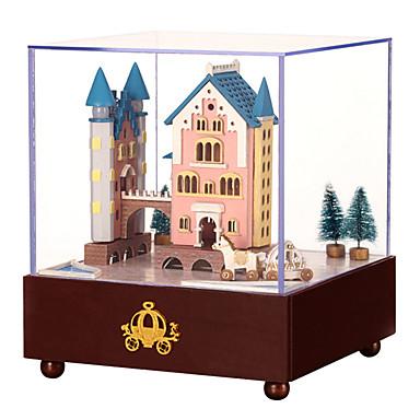 Caixa de música Quadrada Castelo Carruagem Presente Rotativo Crianças Adulto Infantil Dom Madeira Unisexo