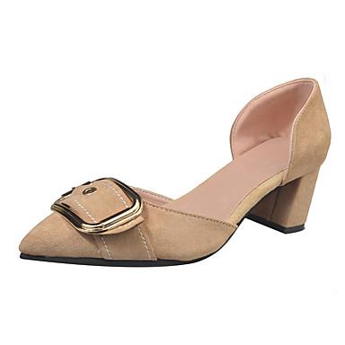 Damen Schuhe PU Sommer Komfort Sandalen Walking Block Ferse Spitze Zehe für Draussen Schwarz Rot Khaki
