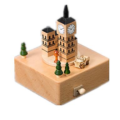 voordelige 3D-puzzels-Muziekdoos Houten modellen Modelbouwsets Carrousel Big Ben Merry Go Round Schattig Kinderen Geschenk Unisex
