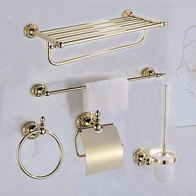 Jogo de Acessórios para Banheiro Clássica Latão 5pçs - Banho do hotel Suportes de Papel Higiénico / barra da torre / anel de torre