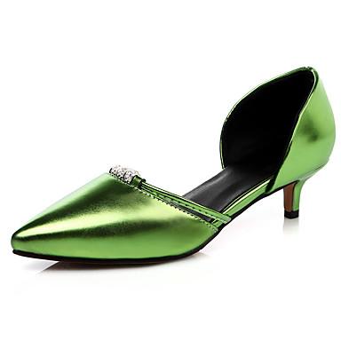 Mulheres Sapatos Courino Primavera / Verão Conforto Sandálias Salto Agulha Dedo Apontado Pedrarias Vermelho / Verde / Rosa claro / Social