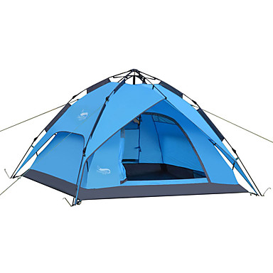 cheap Tents, Canopies & Shelters-DesertFox® 4 person Automatic Tent Outdoor Waterproof Windproof Rain Waterproof Double Layered Automatic Dome Camping Tent 2000-3000 mm for Camping / Hiking Oxford 200*180*130 cm