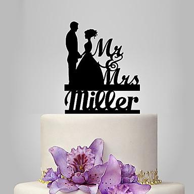 كعكة توبر مخصّص كلاسيكي زوجين أكريليك عرس الذكرى دش العرسان موضوع كلاسيكي موضوع رومانسي OPP