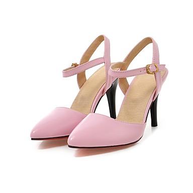 Mulheres Sapatos Couro Ecológico Verão / Outono Conforto / Tira no Tornozelo / Sapatos clube Sandálias Caminhada Salto Agulha Dedo