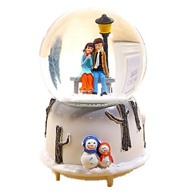 Caixa de música Globo de neve Cristal Resina Vidro Esfera Brilha no Escuro Fluorescente Unisexo Dom